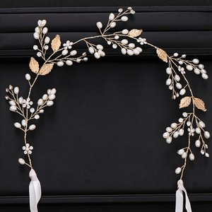 Trendy Gold Leaf Pearl Wedding Headband tiara Bridal Headpiece Party Prom Dinner Dress Decoration Wedding Hair Accessories