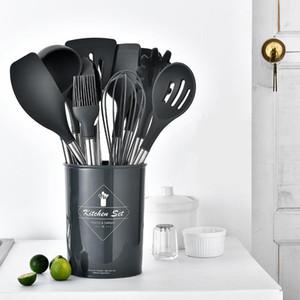 11PCS Silikon Geschirr Antihaft-Kochgeschirr Werkzeug Spachtel Kelle Ei-Klopfer Schaufel Löffel Suppe Küchenutensilien Set