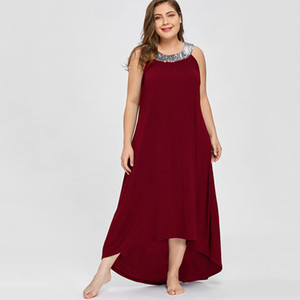 Wipalo Women Plus Size Sequined Collar Asymmetrical Party Dress O Neck Sleeveless Solid Casual Straight Maxi Dress 5XL Vestidos