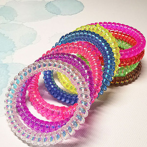 Mädchen Telefonleitung Haarbänder festen transparenten Haar-Ring-Baby-nette Elastizität Haarband für Kinder Kopfbedeckung 100 PCS 07