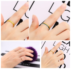 New Punk Joint Titanium Finger Ring Rose Gold Diameter In 4 5 6 7 8 9 10 11# Wholesale Couples Tail Ring Brief Thin