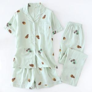 3pcs suits Fresh short sleeve pyjamas women Summer 100% gauze cotton sleepwear women Korea pajamas shorts home pants New Sale