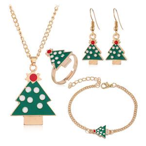 Weihnachten Halskette Emaille-Schmuck Weihnachtsbaum Hirsch Socken Weihnachtsbaum-Anhänger-Halskette Geschenk des neuen Jahres