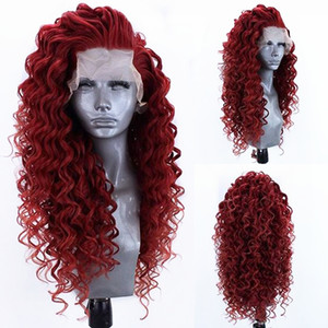 Wine Red Kinky Curly Synthetic Lace Front Wig Heat Resistant Fiber Hair Natural Hairline Free Parting For Women Wigs with Baby Hair