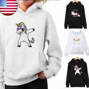 2020 inverno nuovi hoodies delle donne di stampa Pop cappotto casuale delle donne felpa sciolto Unicorn ponticello incappucciato caldo più velluto top