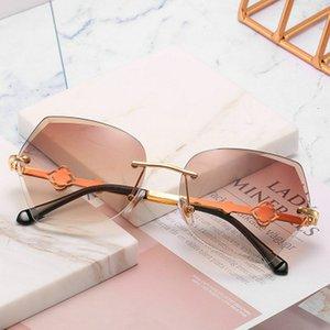 Trimmed rimless sunglasses Evove Rimless Sunglasses Women Round Sun Glasses for Woman No Screw Ultra-light Female Shades Trimming I8kGV