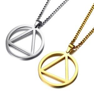 Простая нержавеющая сталь Геометрических ожерелья для мужчин Панка круг треугольник ожерелье Длинных цепей Мотоциклетных ювелирные изделия