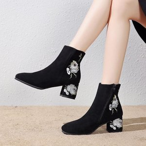 2019 New Retro National Wind Embroidered Boots Children &#039 ;S Short High Heel Thick With Embroidered Bare Mother Women &#039 ;S