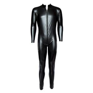 Men's Front Zipper METALLIC Wet Look Shiny Lycra Second Skin Spandex Full Body Catsuit Bodysuit Zentai Suit Fetish Sexy Costume
