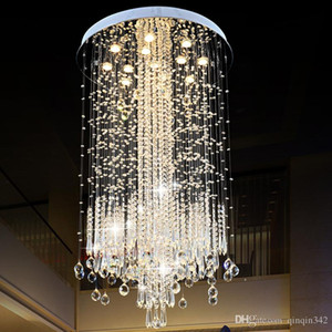 DHL Modern LED Vanity Crystal Chandelier Light Ceiling Fixture Long Stair for Living Room Large Luxury Hotel Hall Foyer Lamp