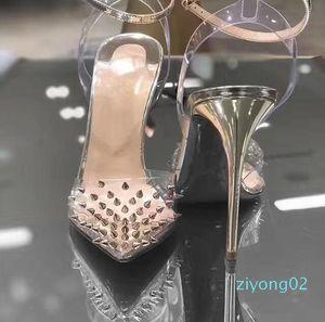 2020 New Red Bottom High heels Genuine leather Woman pumps Crystal Woman High Heels Pointed toe Rivet Wedding Full Original Packaging z02