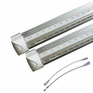 2018 Stock in US + 4ft 8ft led t8 tube lights double rows SMD2835 led tubes 72w integrated 2.4m led Fluorescent lamps AC85-265V