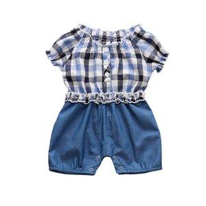 Summer Baby Girl Romper решетчатые Джинсовые шорты Комбинезоны для новорожденных Infant Одежда для малышей Девочка Комбинезоны