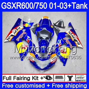 + Depósito para SUZUKI GSX-R750 GSXR 750 600 K1 GSXR600 01 02 03 294HM.26 GSX R600 R750 Azul amarillo rojo GSXR-600 GSXR750 2001 2002 2003 Carenados