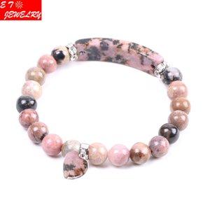 Natürliche Edelstein-Stein-Armband-Linie Rhodonite Liebes-Herz-Montage Healing Perlen Armbänder Rechteck Steine für Frauen Schmuck Weihnachten