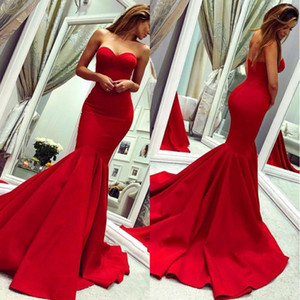 2020 Cheap Red Elegant Mermaid Evening Dresses Sweep Train Formal Occasion Dresses Backless Prom Party Gowns BC0445