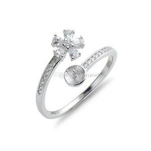 Bague perle Montages Brillant Zircon Argent 925 Bague fleur Paramètres de bijoux Blank 5 pièces