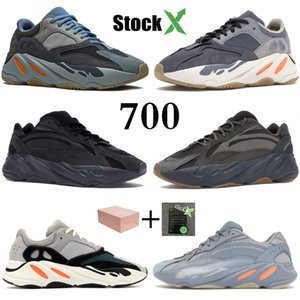 700 Wave Runner Kanye West кроссовки Carbon Blue Magnet дизайнерская обувь сплошной серый Tephra Vanta статические светоотражающие мужские женские кроссовки