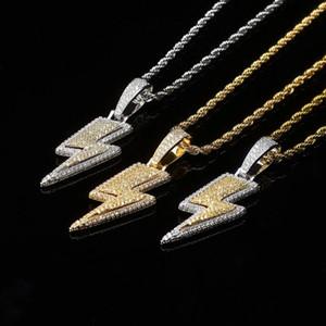 hip hop iced out lightning colgante collares para hombres mujeres diseñador de lujo oro plata bling diamantes colgantes cadenas de oro amor collar regalo