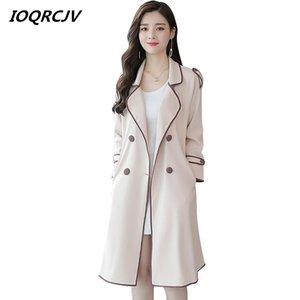 IOQRCJV Automne Trench Casual hiver de femme Manteau long coréenne Vintage coupe-vent avec ceinture taille-vêtement Vêtements amples L235