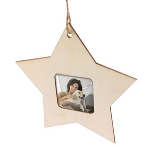 Wooden Mini Photo Frame Star Shape Unfinished Picture Holder Frame Modern Style Party Home Decor Hanging Pendant Party Supplies