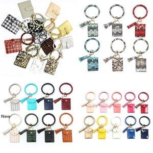 Bracelet Keychain Wallet Leopard Snake PU Leather Tassel Women Card Bag Women Clutch Wristlet Keyring Novelty Items OOA8090