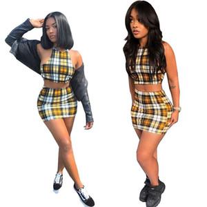여자 Tracksuits 2019 캐주얼 활성 패션 봄 여름 섹시 격자 무늬 인쇄 다시없는 패널 조끼 스커트 폴리 에스터 크기 S-2XL
