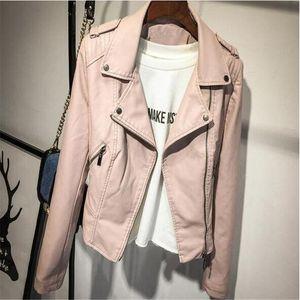 Deri Ceket Sonbahar Yeni Pembe Ceket Kadınlar Kısa PU Deri Ceket Moda Bombacı Bayan Dış Giyim Coat Motosiklet Kadın Womens