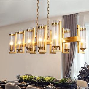 Sala da pranzo Lampadario Illuminazione completa rame Creative Engineering Atmosfera portato a sospensione lampade Villa Nuova cinese rettangolare Bar lampada a sospensione
