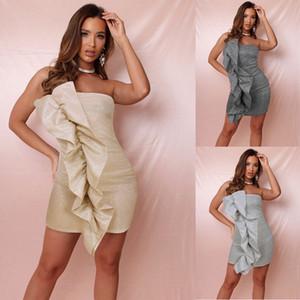 2020 весна лето Новый Fashion Party Sexy Ночной клуб Грибок Side Dress Tube Top Bag Hip пришивания Элегантный с плеча Мини-Платье-футляр