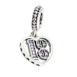 Novas 100% real 925 Sterling Silver alfabeto números 18 anos de amor coração pingente de Contas para as Mulheres presente único europeu pulseiras DIY Jóias