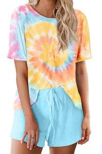 DHL frei für Pyjamas Tiedye für Mädchen mit Rundhalsausschnitt Krawatten-Pyjama Short-Sets Drip Drip Drip Abbindebatik Hemd Glow Bright new? Newclipper