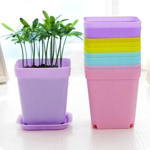 Jardinería macetas cuadradas plantadoras redondas plantadoras macetas plástico plantador creativo pequeños ollas para flores suculentas planta de guardería decoración de jardín