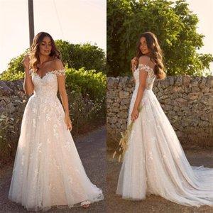 Boho Plus Size A Line Wedding Dresses Off-shoulde Sleeveless Appliqued Lace Wedding Gown Sexy Backless Beach Custom Made Vestidos De Novia