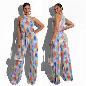 Şık Tulum Yaz Casual Clubwear Geniş Bacak Pantolon tulum Kadınlar İnce Giyim Suits Kadınlar Colorfull Çizgili Tulum Romper Kolsuz