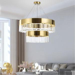 Crystal lamba İskandinav avize salon, modern minimalist altın dekoratif ışıklar altın büyük kordon kolye cam