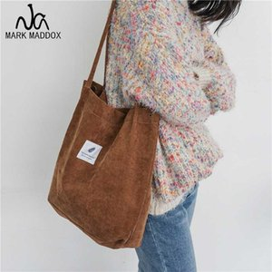 Hot Women Corduroy Canvas Shoulder Bags Female Eco Cloth Handbag Tote Grocery Reusable Foldable Shopping Bag Cotton Lining Pouch