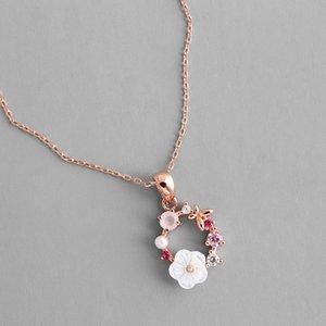Fleurs Collier Cristal Perle Zircon Shell Garland collier pendentif pour femmes Bijoux Accessoires de mode Creative papillon