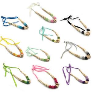 Chew Colliers Sensory Toy anneau en bois naturel pendentif Teether pour Chewing Autisme sensorielle Teether Jouet enfants 10 couleurs hêtre écologique