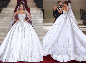 Les cristaux étincelants mariage robe de bal chérie cou Backless perles satin perles de mariage Sequin Top Robes de mariée