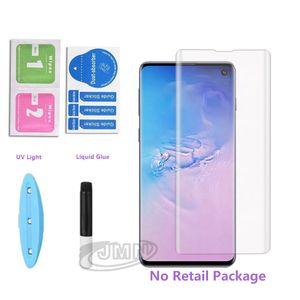 UV cola líquida 3D Curved Cobertura completa Vidro temperado Protector para Samsung Galaxy NOTE20 S20 Ultra S10 S8 S9 Além disso Huawei p40 p30 mate30 pro