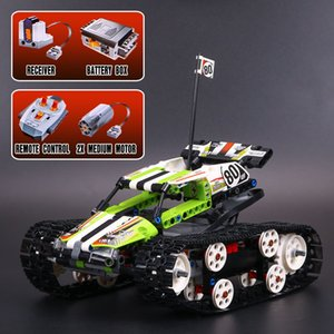 New 397PCS Technic Series The RC Track Remote control Race Car Building Blocks electronic tank robot toy kids gift with ed