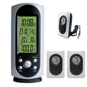 Freeshipping Wireless Weather Station argento con sveglia digitale interno / esterno Temperatura Alert retroilluminazione 3 trasmettitori