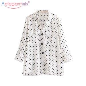 Aelegantmis Mujeres Verano Casual Dot Print Blusa de Gasa Elegante Cuello de abajo Blusas de manga larga Señoras Camisa de moda Tops
