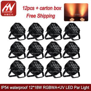 12pcs 12 * 18W impermeable al aire libre RGBWAUV 6in1 led par light disco uplight Battery Power LED par Light