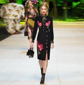 Высокое качество цветок кружева вышивка женское платье 2020 Весна элегантный Раффлед с длинным рукавом трапеция миди платье женский