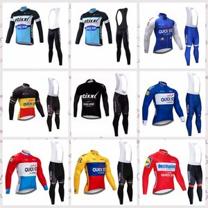 QUICK STEP team Cycling long Sleeves jersey bib pants sets Men Breathable Quick Dry MTB outdoor sportwear V62986
