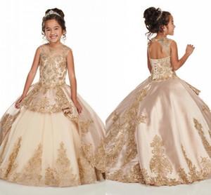 Прелестный шампанского Девушки Pageant платья 2020 Новый бисером Кристаллы аппликация Длинные Ruched малышей платье корсет девушки цветка Новоселье