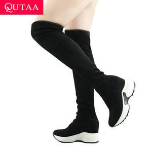 QUTAA 2020 Stretchstoffen über das Knie Stiefel Höhe zunehmende runde Zehe-Frauen-Schuhe Herbst-Winter-beiläufige lange Stiefel size34-43