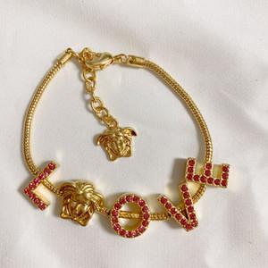 Vendere nuova bellezza avatar alfabeto stilista selvaggia braccialetto donne gioielli braccialetto dal design di lusso diamante rosso